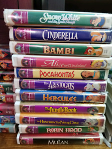 Disney VHS movies English very good condition. TV & VCR included