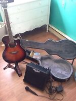 Yamaha APX500II acoustic/electric Guitar + Accessories