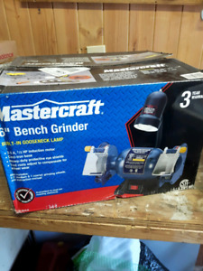 New in box 6 in mastercraft bench grinder.