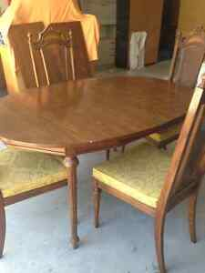 Solid Wood Dining Room Set - Table, chairs & long buffet cabinet