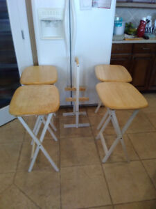 4 Wood Folding TV tables on stand