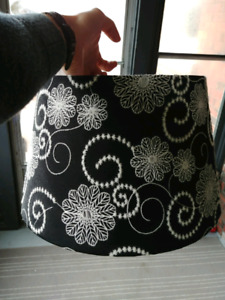 Lamp shade - black with white embroidery