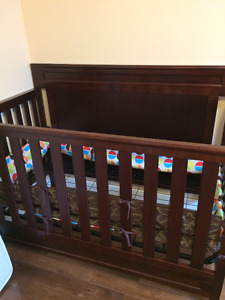 Convertible Dark Cherry Crib, mattress and dresser
