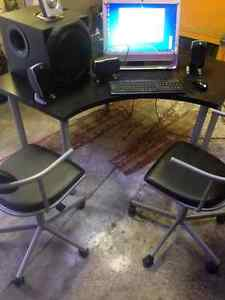 ikea desk, 2 chairs,computer, keyboard,mouse and speakers
