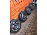 4x steel wheels, clio, corsa etc (four stud)