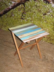 table d'appoint déco en bois pliante