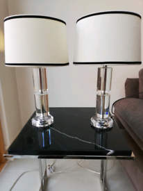 Pair of glass base table lamps with white shade