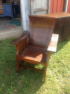 Engraved antique chair