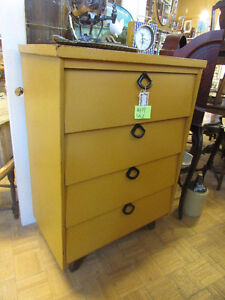 VINTAGE PAINTED ALL WOOD DRESSER WITH 4 DRAWERS