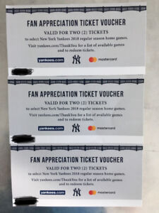 6 Tickets to New York Yankee Home Game 2018 Season
