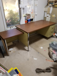 Large metal desk.  With attached printer stand.