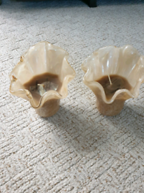 Set of two glass candle holders, with candles
