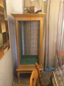 Cage a oiseaux perroquet en chêne et métal