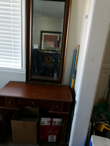 Small desk with matching mirror