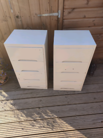 Pair of solid wood painted 4 draw units