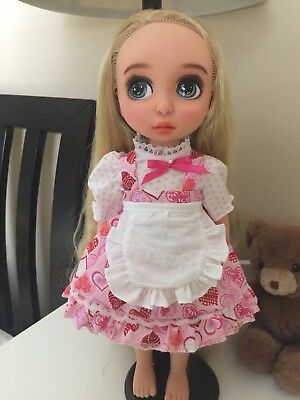 """Disney Animator 16 """" Doll Clothes -Pink Heart dress with apron"""
