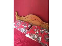Solid pine king size bed and memory foam mattress