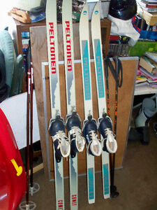 150'S AND 140;S C.C.SKIES,POLES AND SIZES 13 AND 13 SHOES
