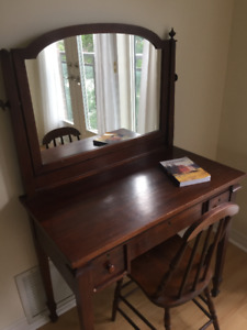 Antique Wooden Vanity and Chair