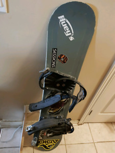 Kids Size US 7 Snowboard Package includes boots and bindings