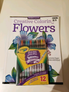 Adult Colouring Book and Erasable Pencil Crayons