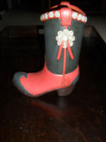 New in original box Concho Cowboy Boot Vase