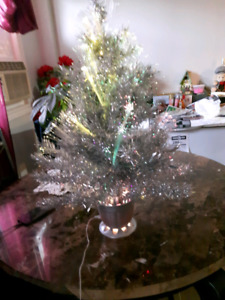 Silver Christmas Tree with lights, 29 inches