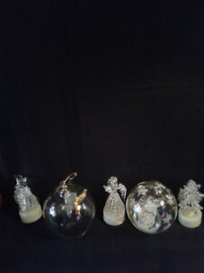 5 Pcs*2 GLASS Angel & 3 Colour Changing LIGHT-UP Ornaments*AVAIL