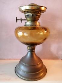 Vintage Antique Brass & Amber Paraffin Oil Table Lamp Light