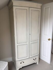 Cream French style wardrobe with drawer under
