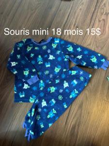 Pyjamas polar souris mini 18 mois 15$