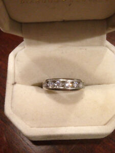 14k White Gold Anniversary Band with 7 Diamonds 1ct total