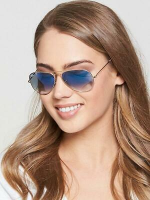 Ray-Ban Aviator RB3025 001/3F 55mm (SMALL) Blue Gradient Gold Metal (Ray Ban Gold Blue Aviators)