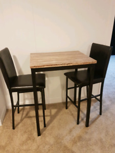 Bar height table and 2 chairs