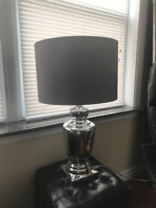Mirrored lamp with grey shade