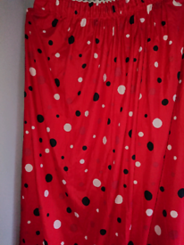 Lined Red Spotty Curtains.