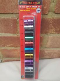 "3/8"" dr. multi-Coloured shallow socket set"