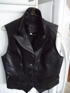 Women's Black Leather Vest, like new,  medium size, black