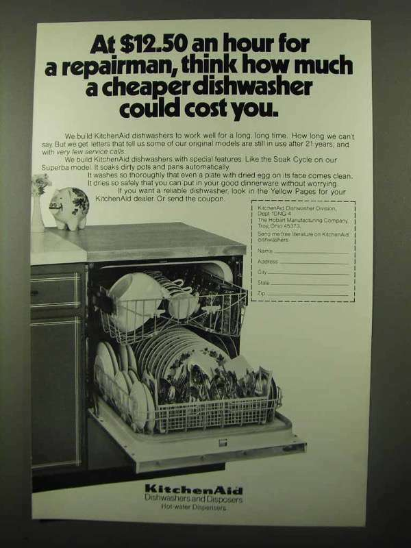 1971 KitchenAid Dish Washer Ad - Cheaper Could Cost