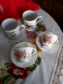 2 Denby mugs, 2 anniversary cups and saucers £2 each