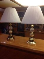 Brass bedroom lamps mint condition with shades