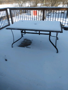 Tile patio table with 8 chairs no cushions