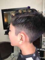 Free hair cut for men with the professional baber beside