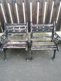 Pair Cast Iron Garden Armchairs