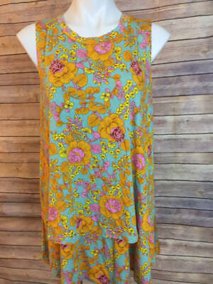Agnes & Dora XL Tiered Tunic Retro 70s Floral Top Shirt New Blue Yellow with tag
