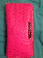 LAREGE PINK REBECCA MINKOFF OSTRICH EMBOSSED LEATHER WALLET