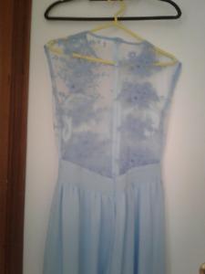 long blue gown