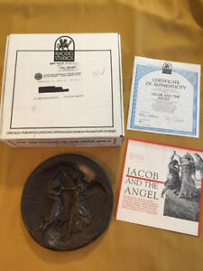 Jacob and the Angel fused bronze collector plate