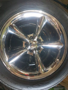 "Beautiful 18"" chrome 5 spoke wheels and tires"