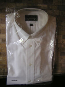 New Unused Men's White Oxford Button Collar Cotton Shirt Sz 16